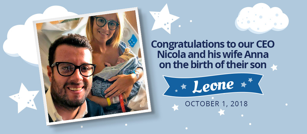 Congratulations to our CEO Nicola and his wife Anna on the birth of their son, Leone. October 1, 2018.